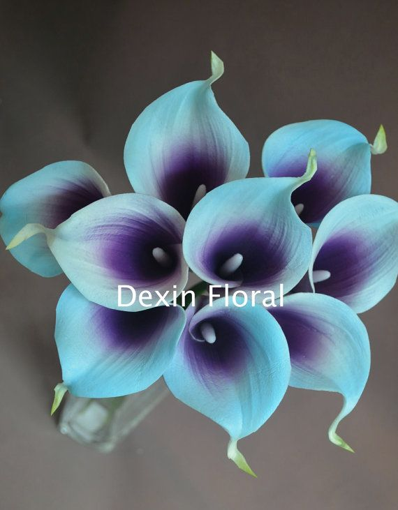 Blue Purple Picasso Calla Lilies 9 Stems Real Touch Flowers Diy