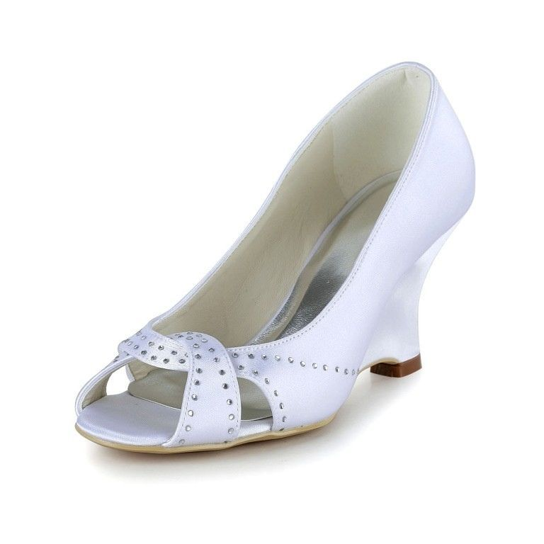 White Rhinestone Ankle Strap Wedding Wedges Sandals for