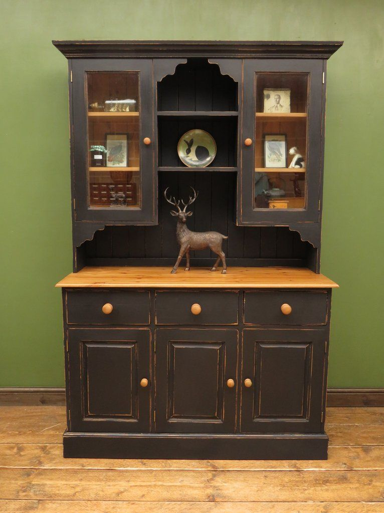 Black Welsh Dresser With Glazed Top