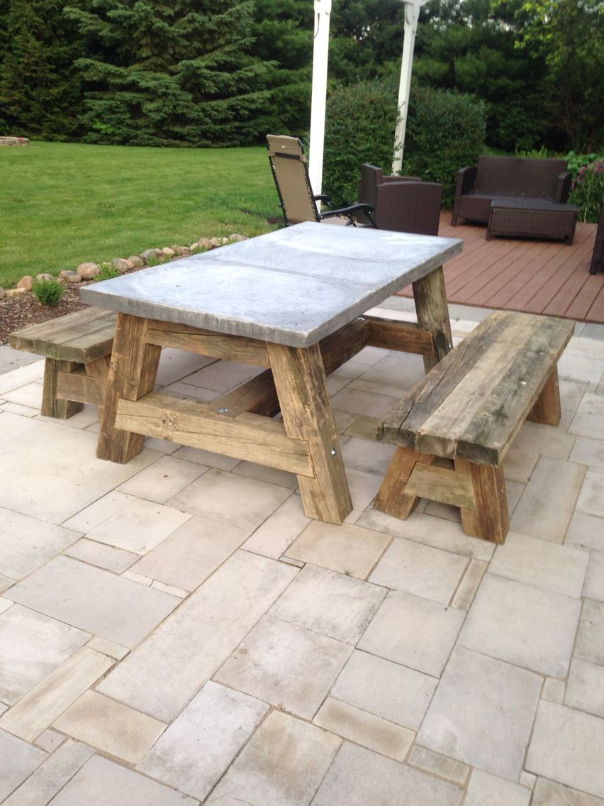 Miraculous Picnic Table Using Railroad Ties And A Concrete Top Whoaaaa Interior Design Ideas Clesiryabchikinfo