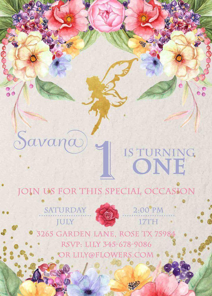 Golden Fairy Garden Party Birthday Floral Invitation