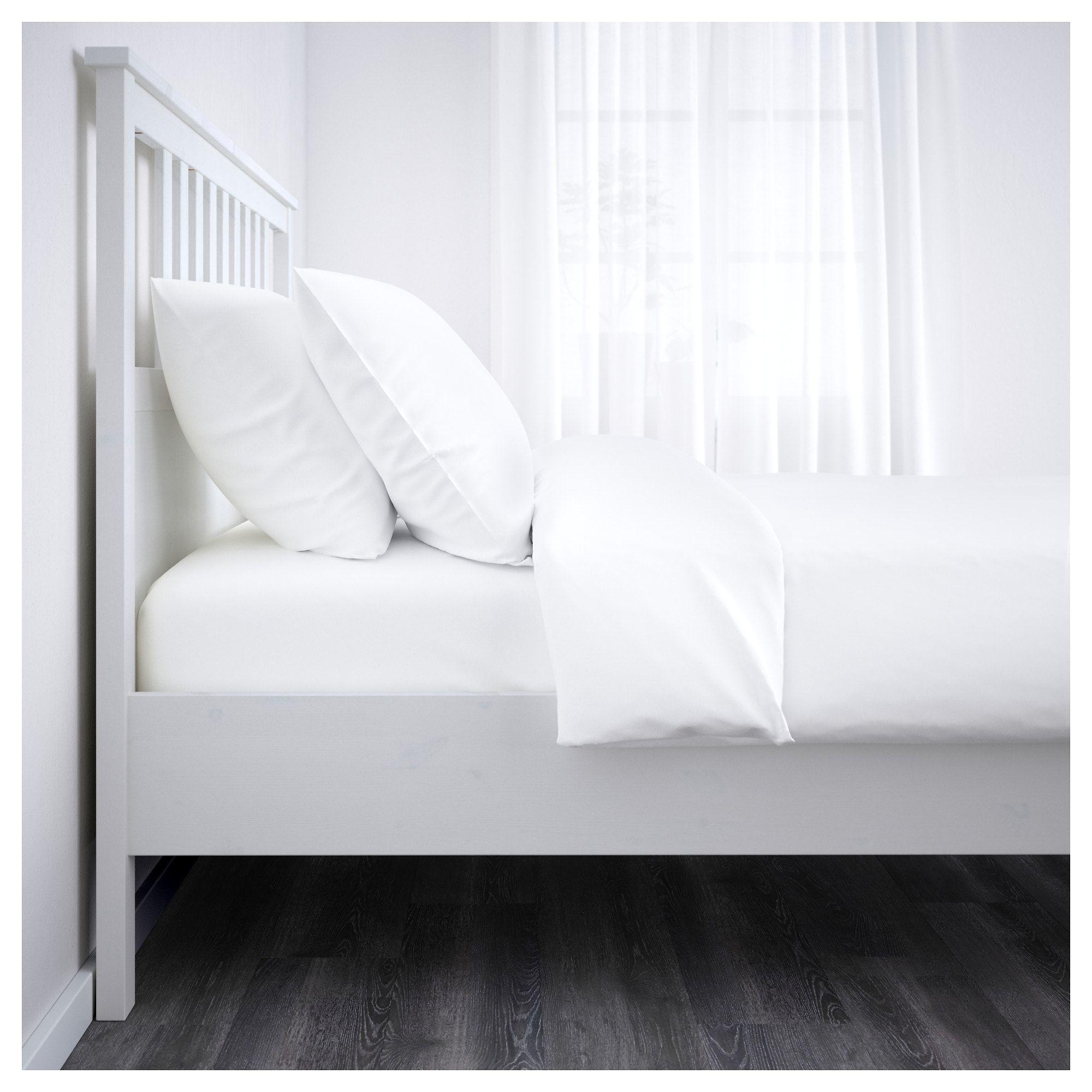 HEMNES Bed frame, white stain, Luröy, Queen IKEA