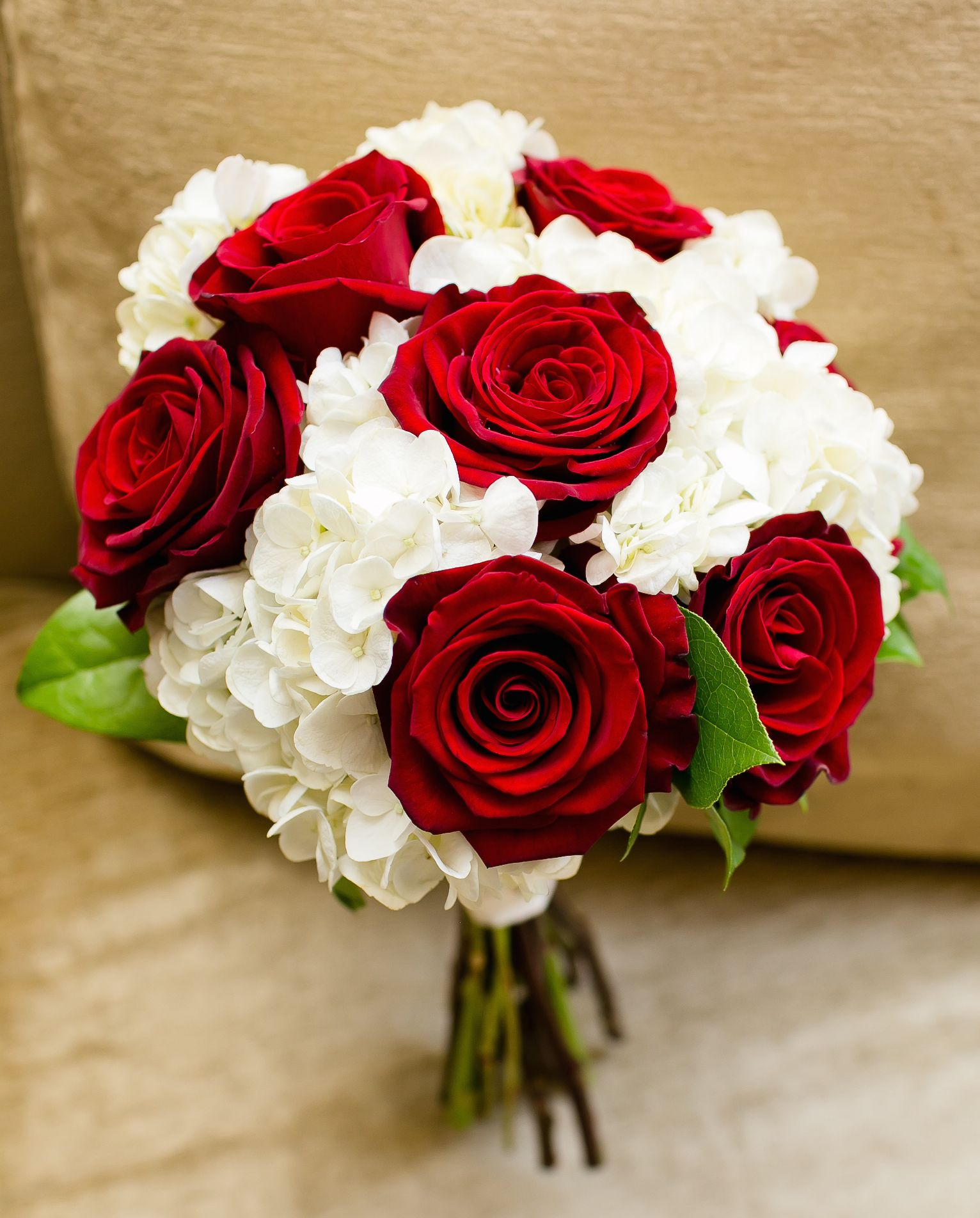 Rose Wedding Ideas: Red Roses And White Hydrangeas. Classic Bouquet For A Fall