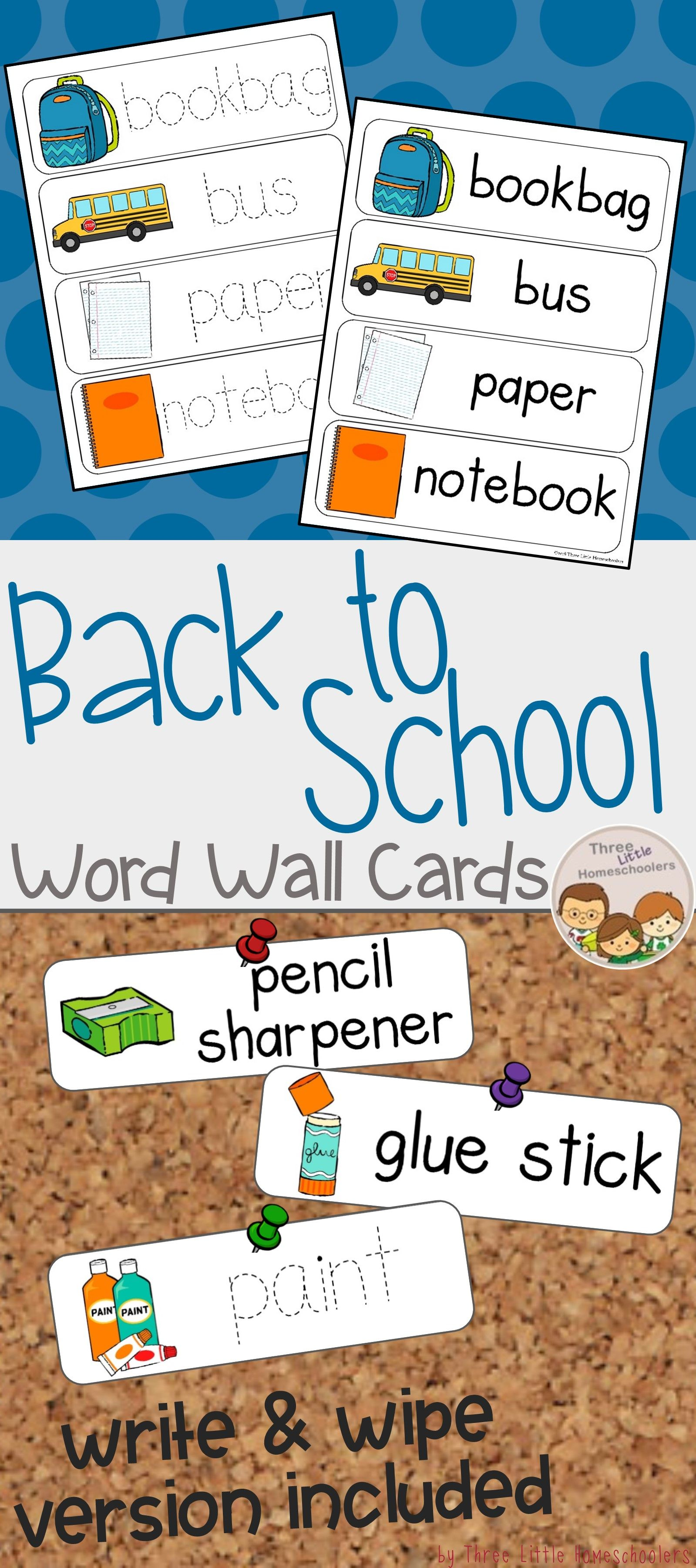 Back To School Vocabulary Word Wall Cards Plus Write