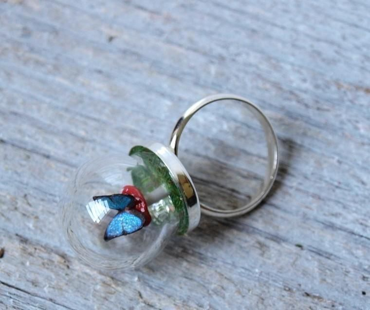 Tiny Woodland Terrarium Toadstool Mushroom and Blue Morpho Butterfly Ring love it! must try! find mini bottles, ring shanks, ball chains, memory frames at #ecrafty www.eCrafty.com
