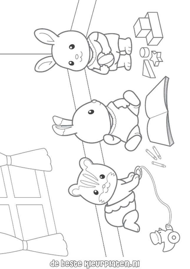 Sylvanian Families001 Printable Coloring Pages Family Coloring Pages Family Coloring Puppy Coloring Pages
