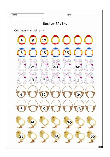 worksheet resource 13 1052 ks1 easter worksheet easter number patterns sequences www. Black Bedroom Furniture Sets. Home Design Ideas