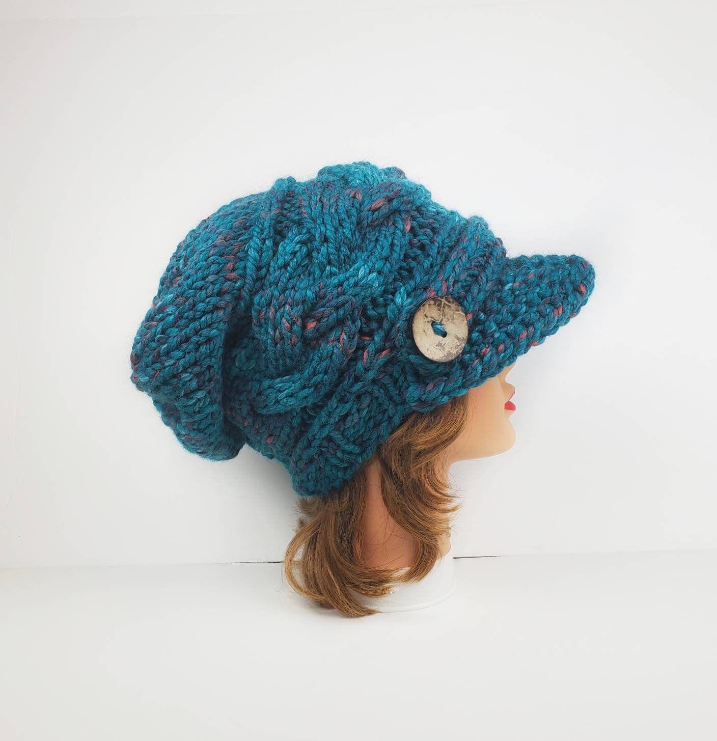 Newsboy Cap Visor Cap Hat Chunky Knit Hat Women Cable Knit Etsy Chunky Knit Hat Crochet Newsboy Hat Knitted Headband