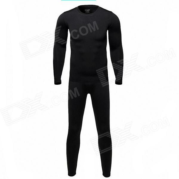 Qinglonglin Men's Blcool Cycling Warm Top   Pants Suit - Black (Size XL) Price: $27.10