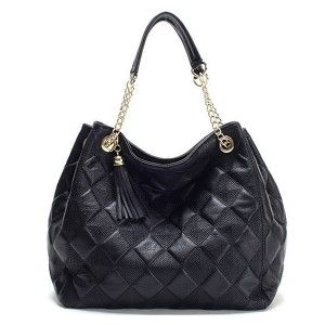 Quilted Leather Bag with Chain Strap Shoulder Bags at doozybag.com