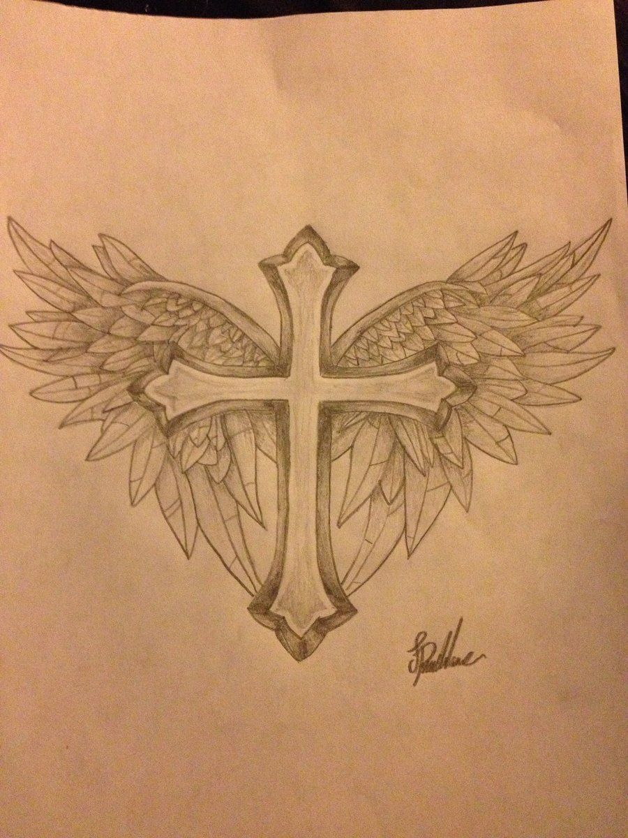 Mens cross tattoo with roses - Cross With Wings Tattoo Design By Protxtics Deviantart Com On Deviantart
