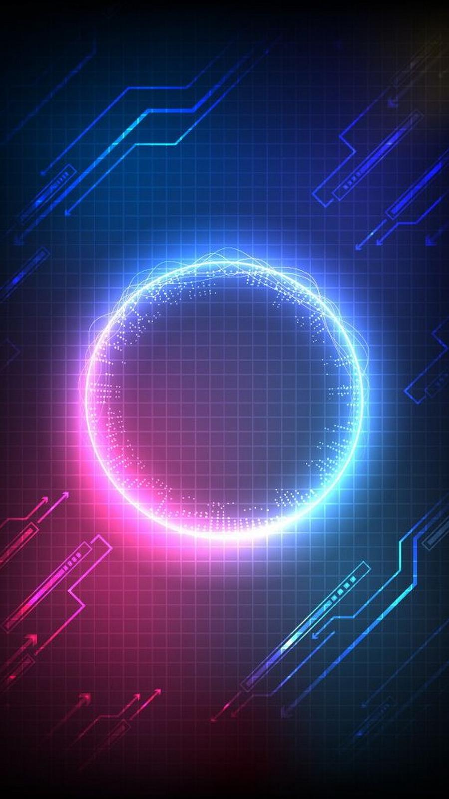 Blue Light Neon Electric Blue Design Line Technology Wallpaper Poster Background Design Abstract Iphone Wallpaper