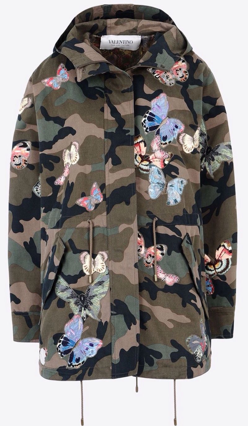 cb40a8bd Valentino Military Green Camouflage Parka + Embroidered Butterflies ...