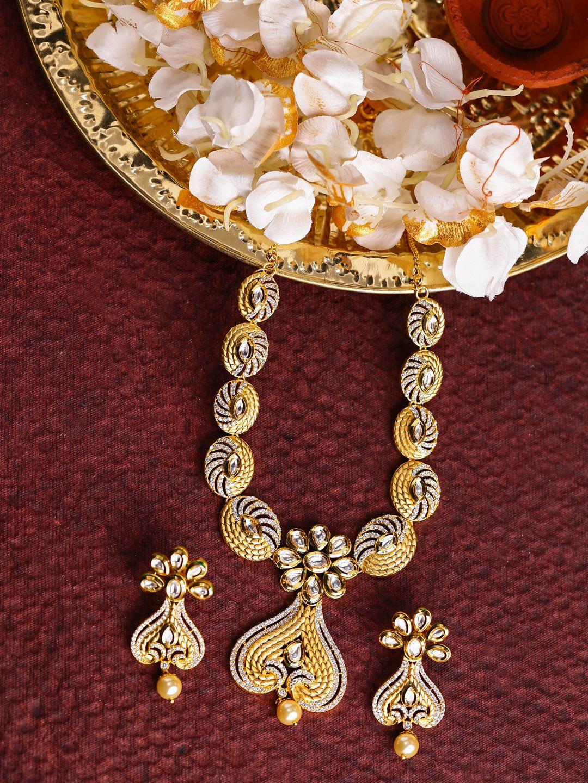 09fe31c14 DHRUVI by Zaveri Pearls Green   Gold-Toned Kundan   Cubic Zirconia Jewellery  Set