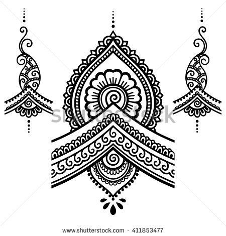 Henna tattoo flower template.Mehndi. | Tekeningen | Pinterest ...