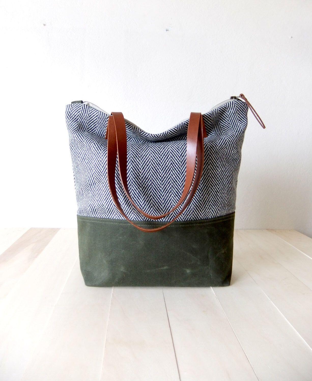 Zippered Tote Bag - Herringbone Tweed - Waxed Canvas Base in Olive Green - Leather Handles in Brown - Natural Lining - Shoulder Bag by metaphore on Etsy https://www.etsy.com/listing/188965844/zippered-tote-bag-herringbone-tweed