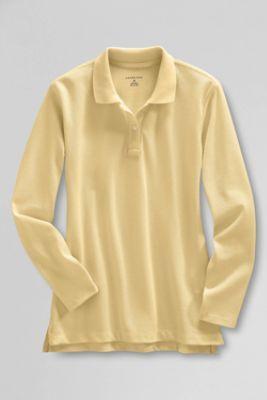 9ed7ce47 School Uniform Long Sleeve Feminine Fit Mesh Polo Shirt from Lands' End