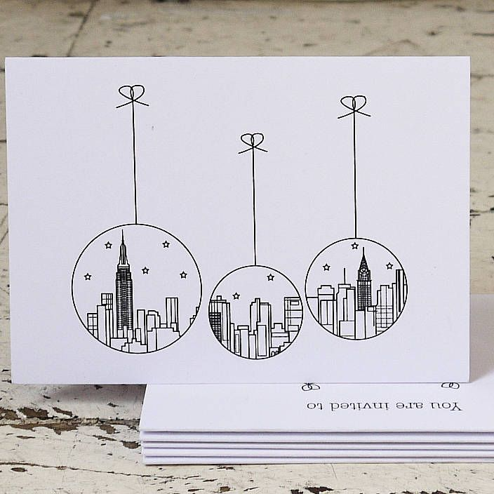 Pack Of Five New York Christmas Cards | Christmas decoration ...