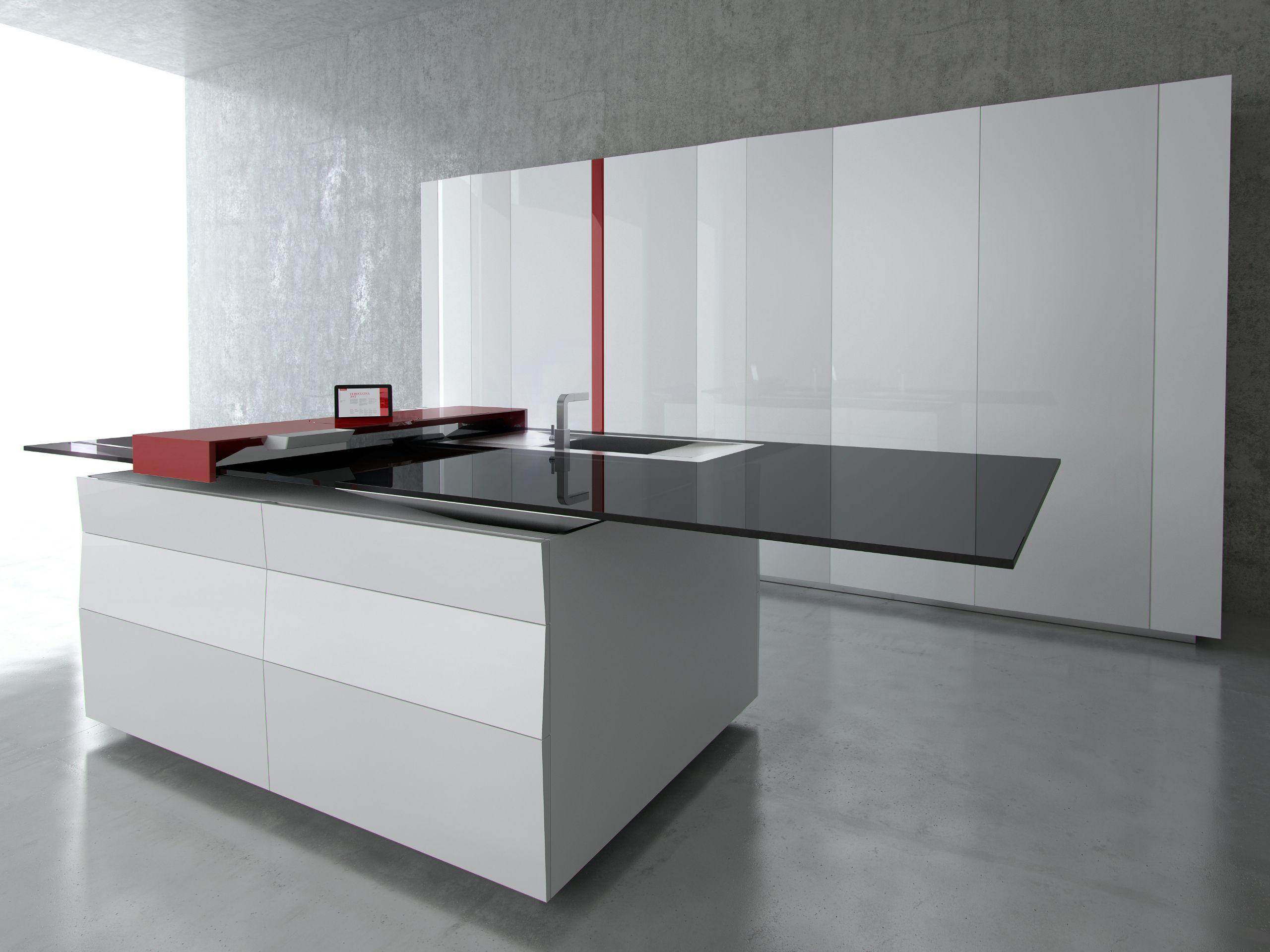 Cucina laccata con isola PRISMA - TONCELLI CUCINE