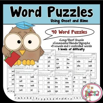 Word Puzzles Using Onset and Rime includes 40 puzzles. Each puzzle has 8 words and 8 letters. Students cut out the 8 letters and arrange them on the puzzle to form words with the word families. $