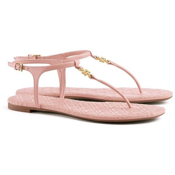 Tory Burch Marion Quilted Sandals (3.295 ARS) ❤ liked on Polyvore featuring shoes, sandals, real leather shoes, pink shoes, quilted shoes, pink sandals and mirror shoes