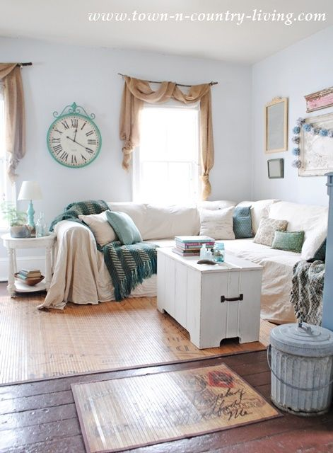 No Sew Drop Cloth Slipcover Town Country Living Diy Couch