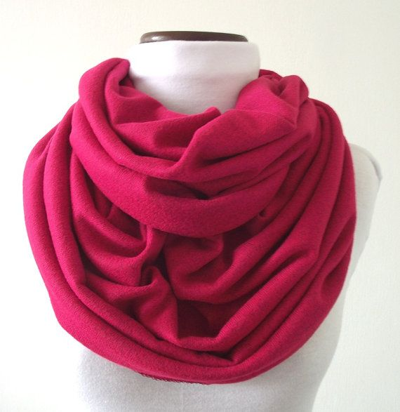 INFINITY SCARF Raspberry Cotton Jersey by liliavaniniboutique, $38.00