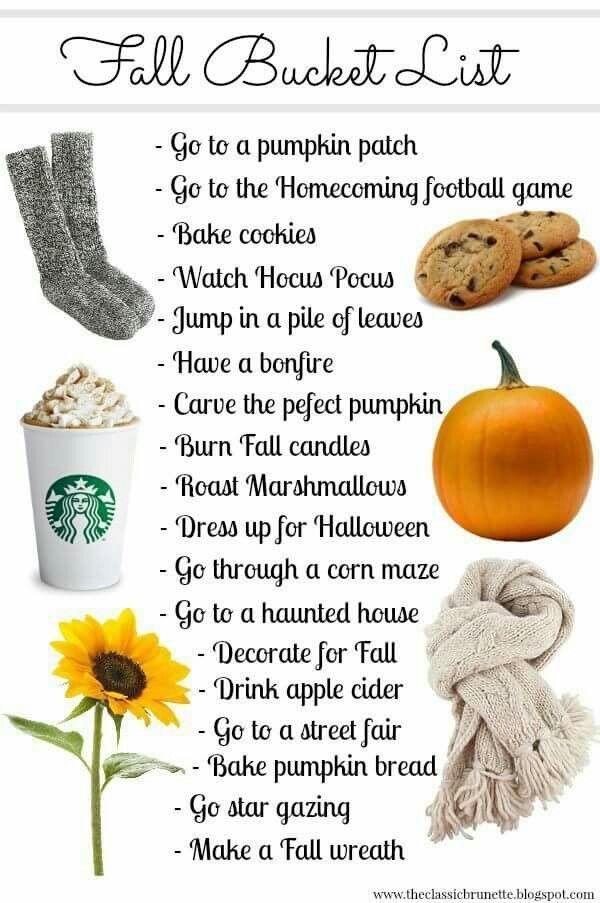 Fall Bucket List Velas De Otoño Listas Para Hacer Ideas Para Pijamadas
