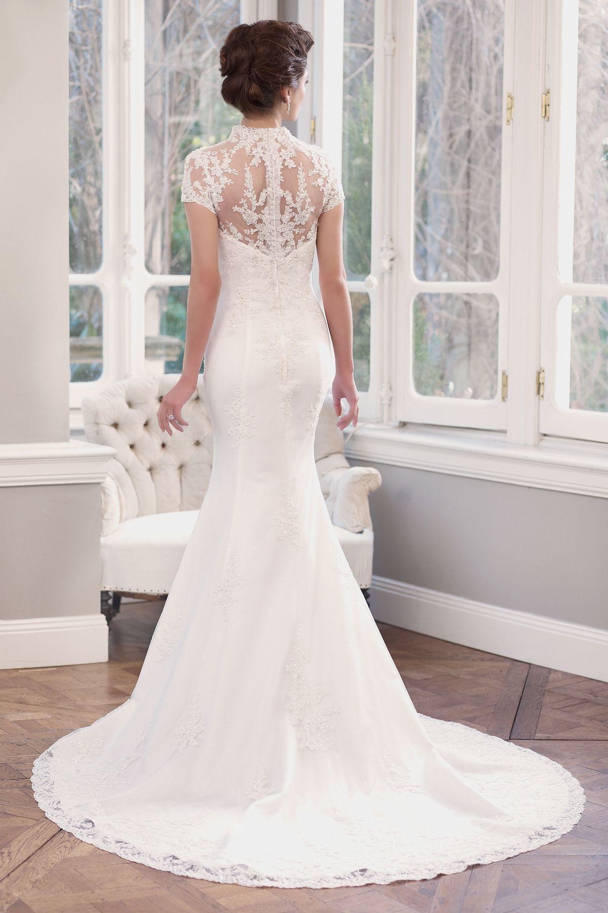 Lace cap sleeve a line wedding dress  MZ  Lace slim Aline wedding dress with Queen Anne neckline