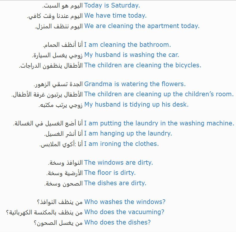 House Cleaning تنظيف المنزل Learn English Clean House Learning