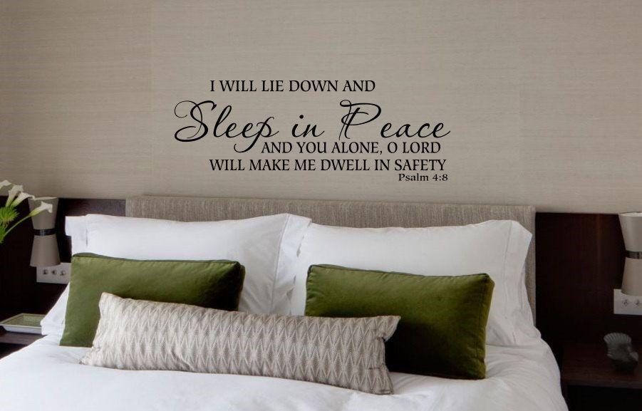 Psalm 4:8, Bedroom Decor, Sleep in peace decal, Bedroom wall decal ...