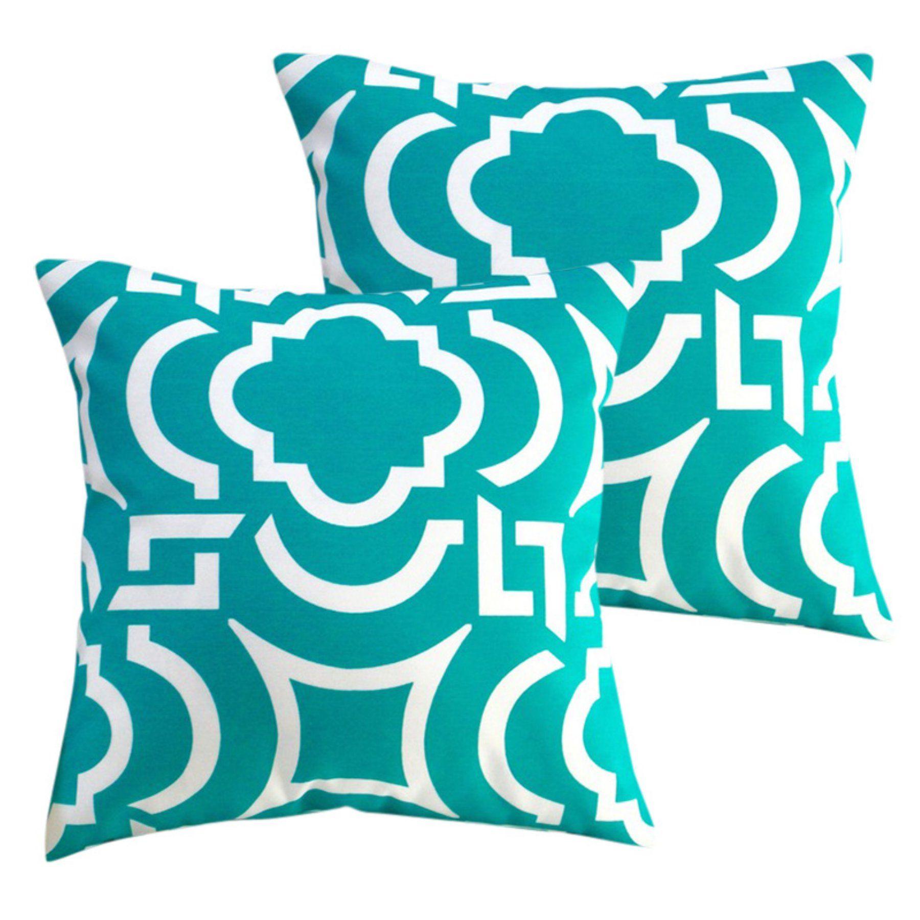 Outdoor Pillows Set Of 2.Artisan Pillows Geometric Coastal Decor Outdoor Pillow Set