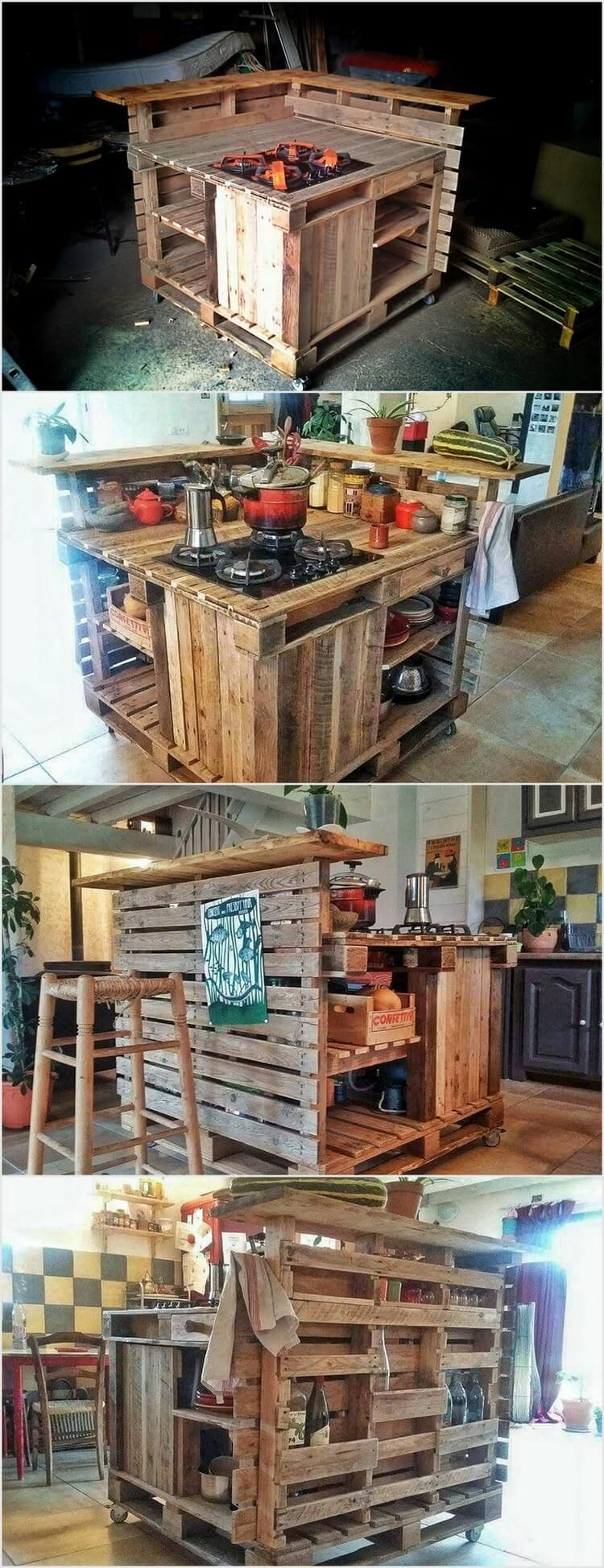 Pallet kitchen island table is constructed using creative techniques with low cost it is not a traditional dinning set but you can use it as table in your