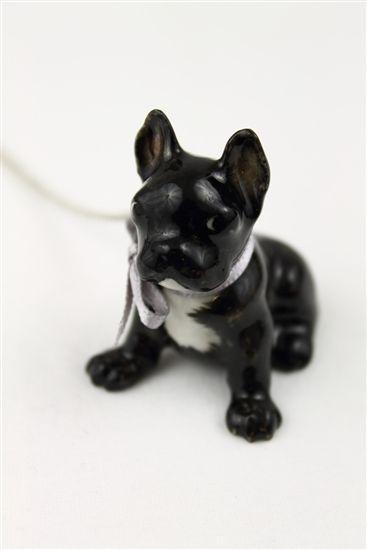 Black Porcelain French Bulldog Charm Necklace And Mary Godiva
