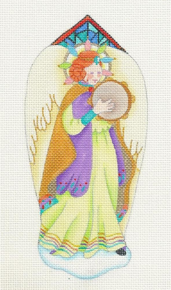 dede Christmas Music Angel ~ 2 Sided ~ handpainted Needlepoint Canvas Ornament #dedeNeedlepoint