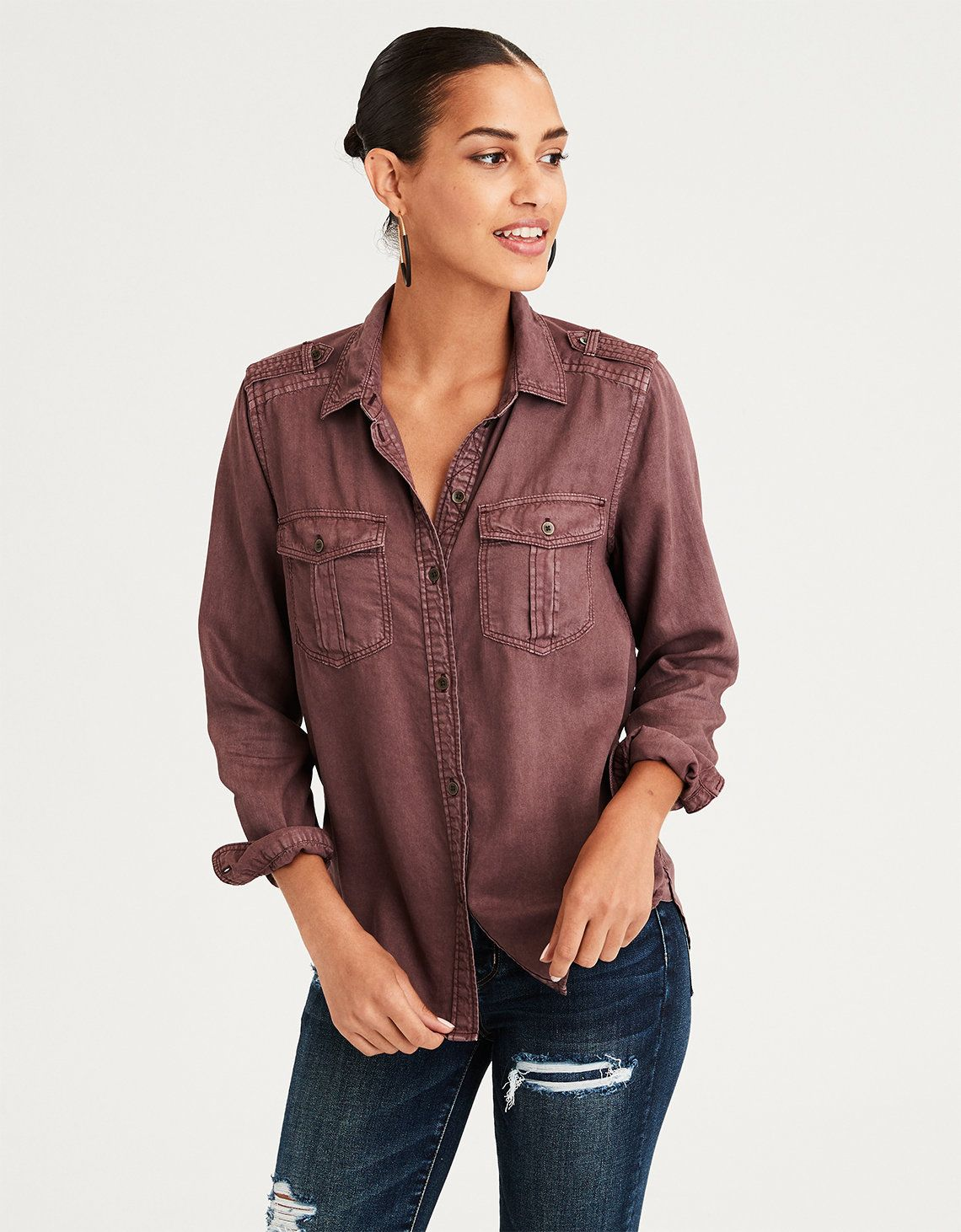 59b8bc14a2c7 AE Military Button Up Shirt in 2019