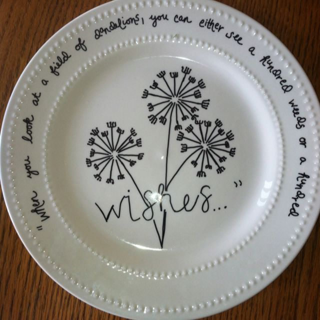 Dollar store plate w sharpie bake at 150 for 30 minutes for How to decorate a ceramic plate