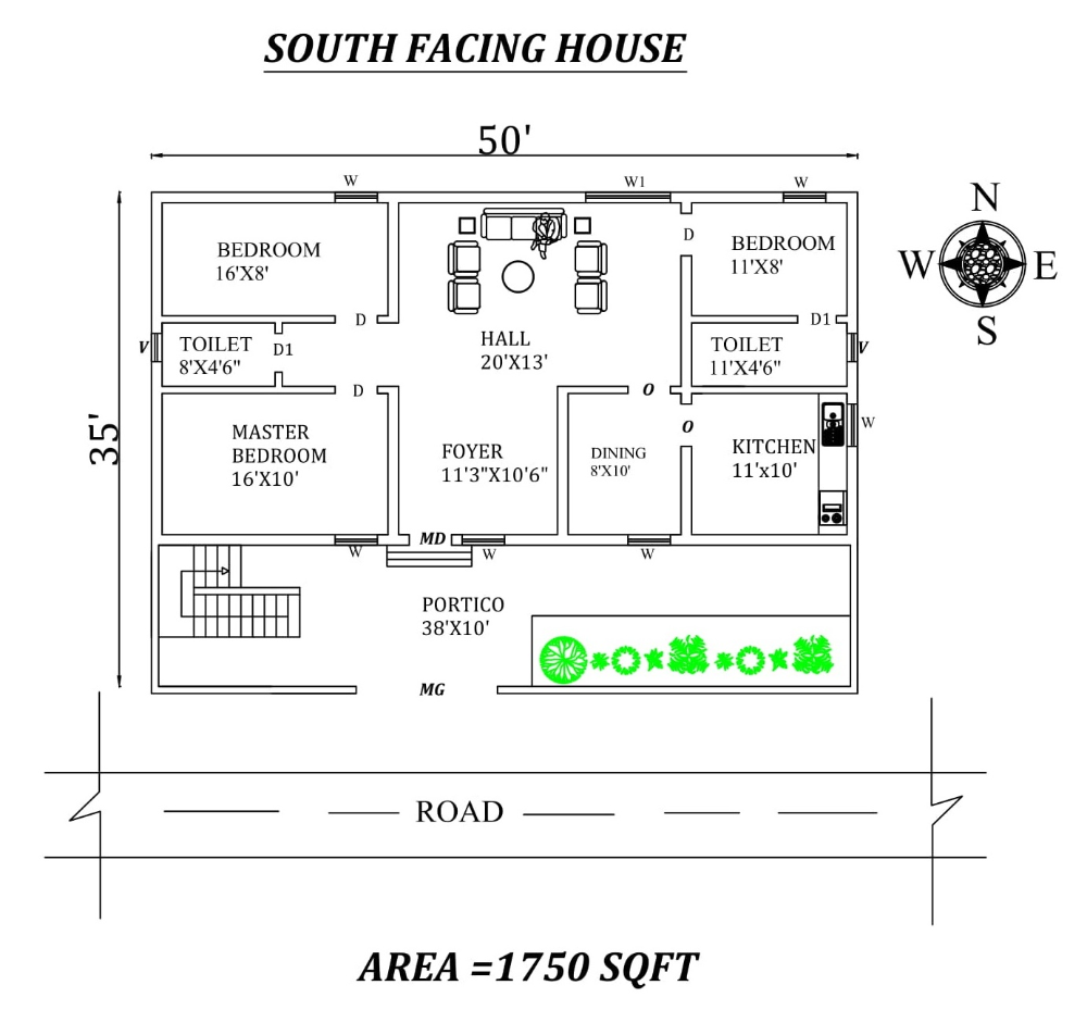 50 X35 South Facing 3bhk House Plan As Per Vastu Shastra Autocad Drawing File Details Cadbull South Facing House 30x40 House Plans Indian House Plans