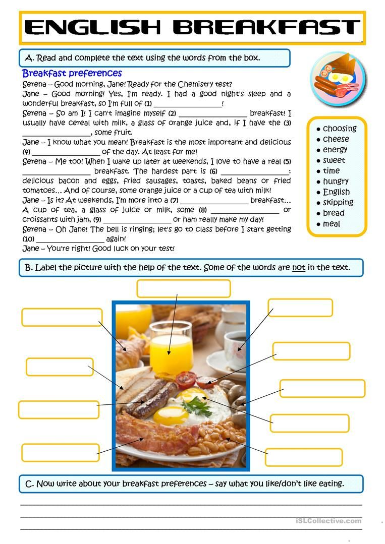 Breakfast Preferences Worksheet Free Esl Printable Worksheets Made By Teachers English Teaching Materials English Lessons English Worksheets For Kids [ 1079 x 763 Pixel ]