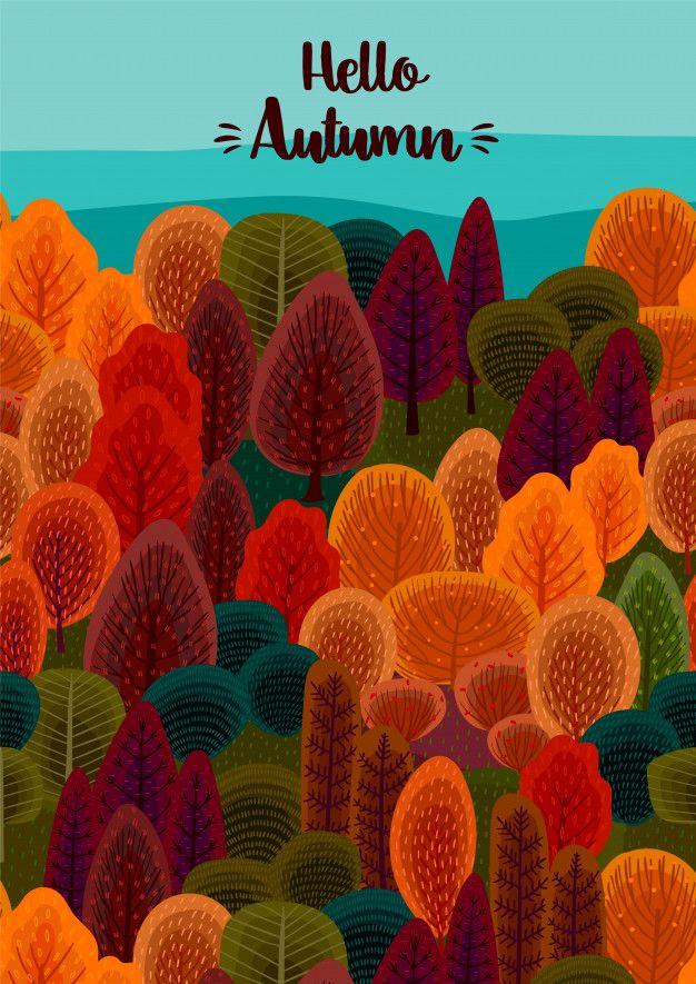 Hello autumn design | Premium Vector  #helloautumn