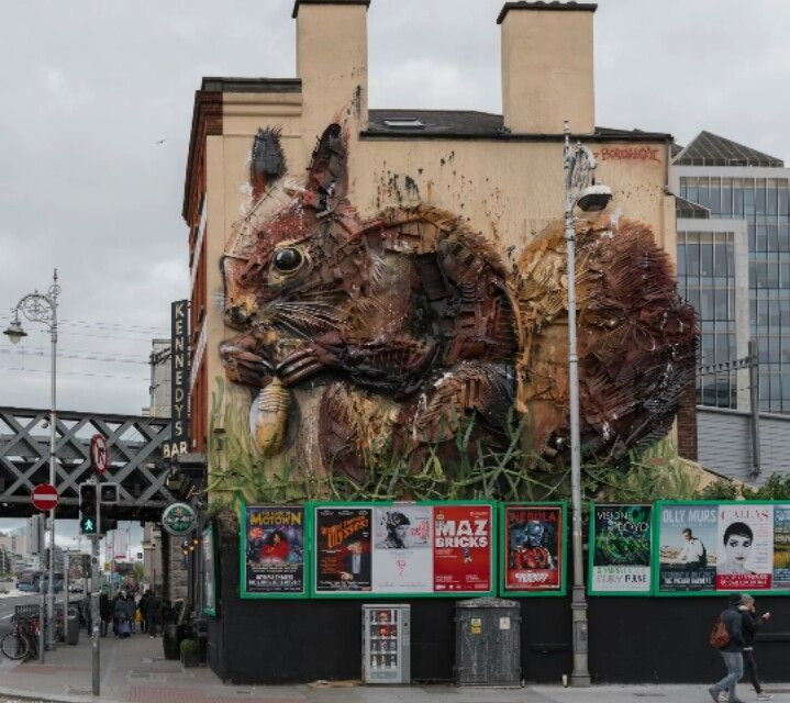 'Red Squirrel' Street Art by Bordalo ll, located in Dublin, Ireland