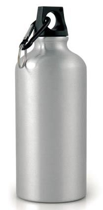 Silver Sports Bottle with Carabiner