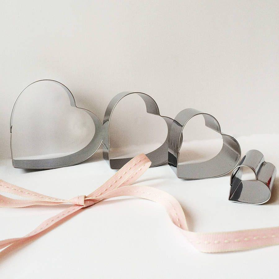 Set Of Seven Steel Heart Cookie Cutters