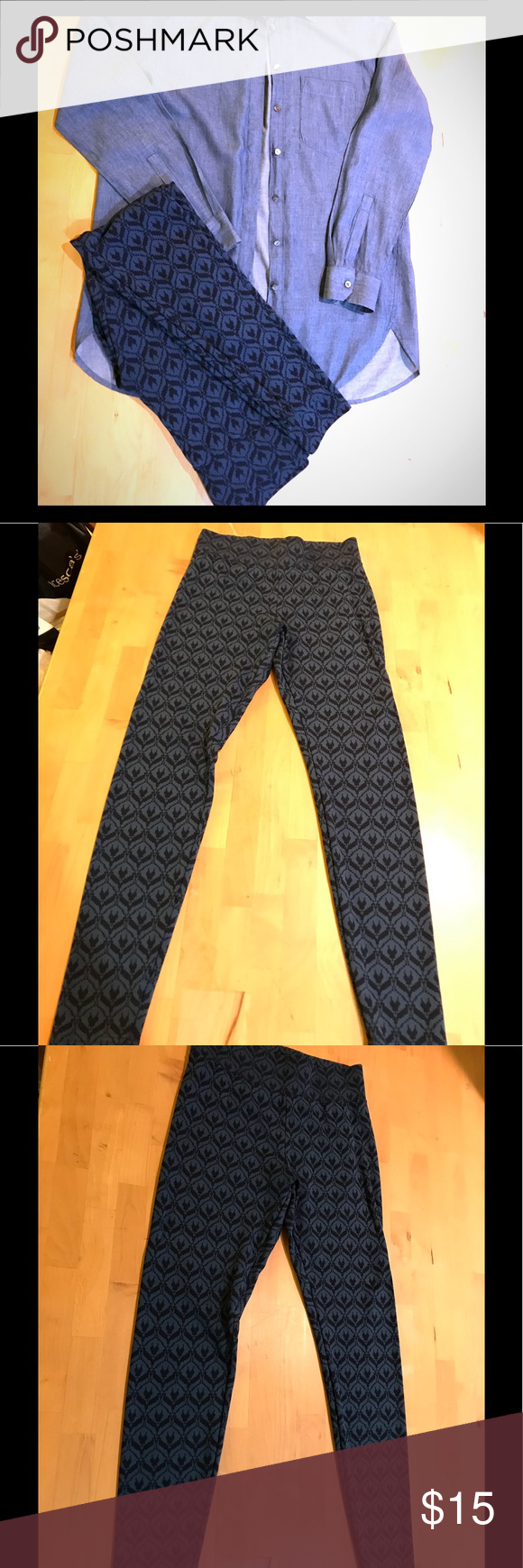 1332f7c8e8bb93 Merona Patterned Leggings Merona leggings; 27' inseam;  rayon/polyester/spandex blend; cute pattern, only worn once or twice. Color  is a deep teal ad black ...