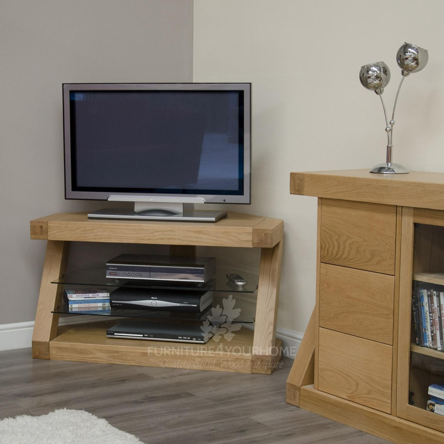Z Solid Oak Designer Corner Tv Unit For The Home Pinterest  # Meuble Angle Tele