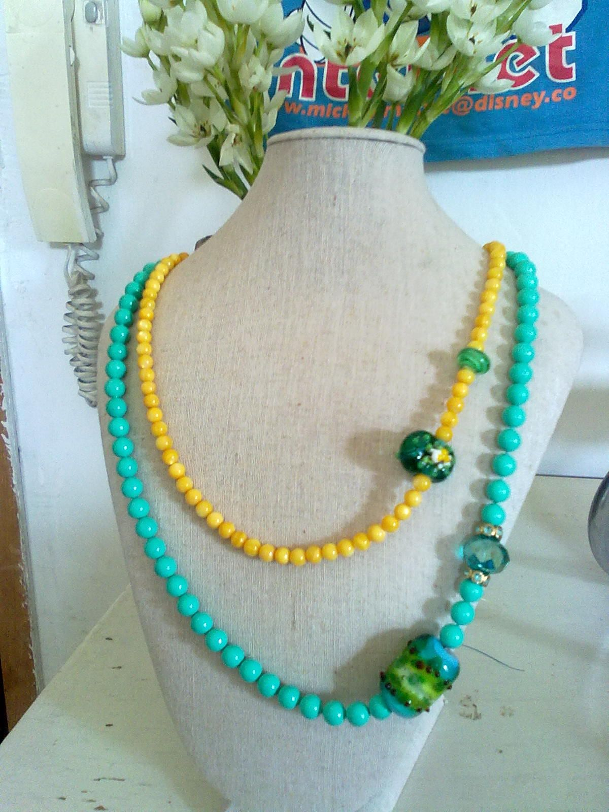 sweet majorca pearls and some glass beads i made...