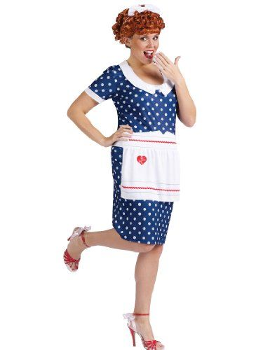 plus size i love lucy costume blue dress apron wig womens theatrical costume click image - I Love Lucy Halloween Costumes