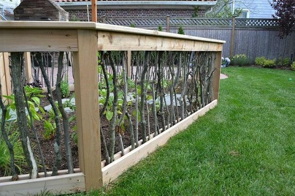 Unique Vegetable Garden Fence from Branches