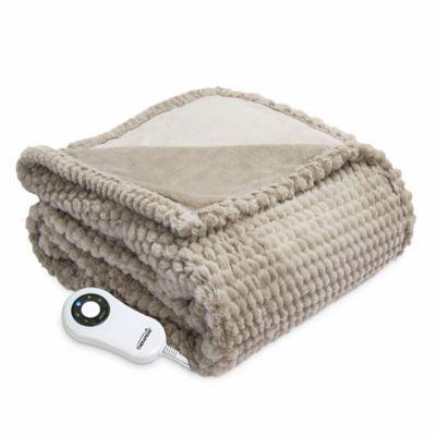 Therapedic Faux Fur Electric Throw Blanket In Taupe Heated Throw Electric Throw Blanket Heated Throw Blanket