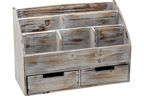 Vintage Rustic Wooden Office Desk Organizer Mail Rack For
